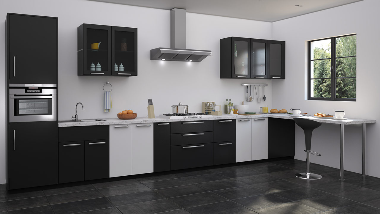 Charmant Charmant Balck And White Modular Kitchen Design. Bon U Shaped Kitchen