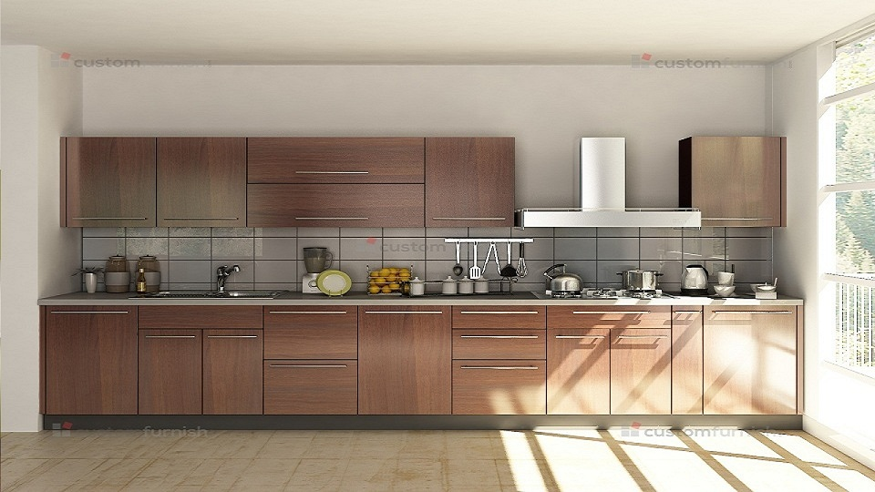 Straight shaped modular kitchen designs for Straight kitchen ideas