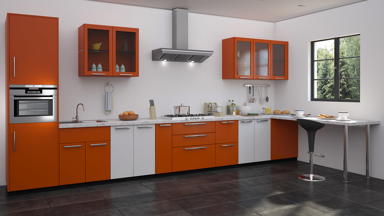 Straight shaped modular kitchen designs for Kitchen colors with white cabinets with yosemite sticker