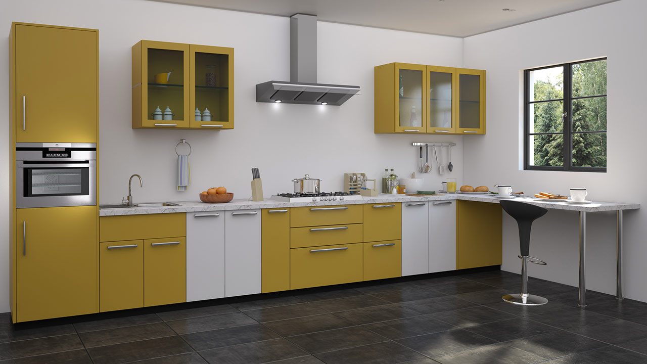 Straight shaped modular kitchen designs for Sample modular kitchen designs