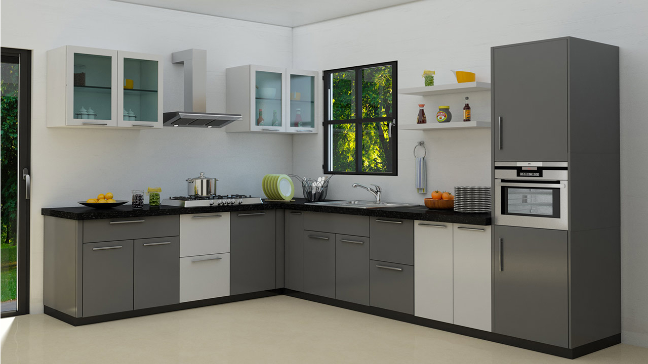 L Shaped Modular Kitchens Design Tips The L Shaped Kitchen Homelane With Spacious Work