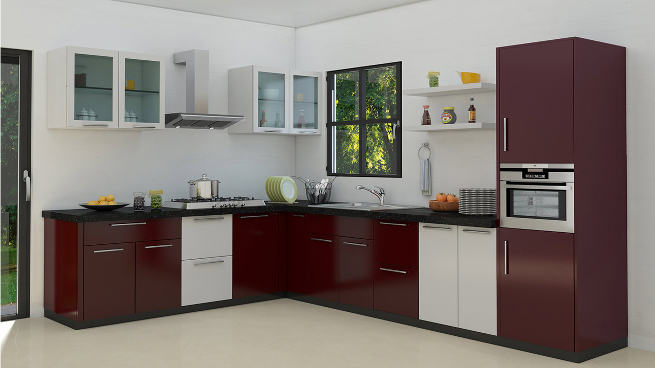 L shaped modular kitchen designs for Sample modular kitchen designs