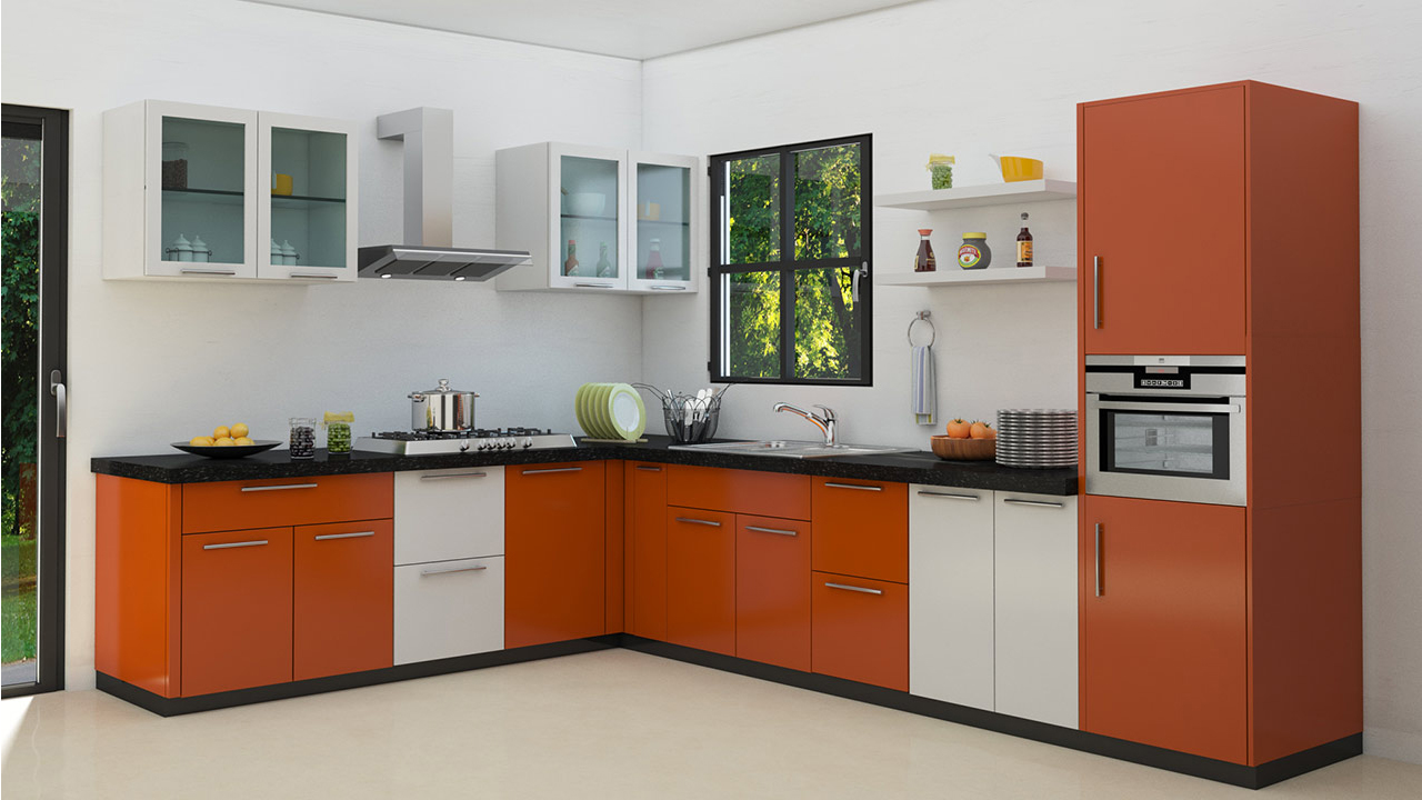 L shaped modular kitchen designs for Kichan farnichar design